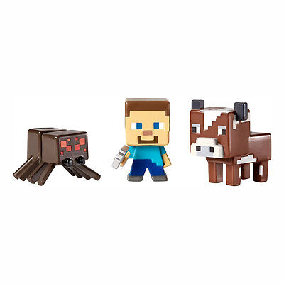 Minecraft  Grass Series 1 Mini Figure 3 Pack (Steve? With Pickaxe, Cow & Spider)