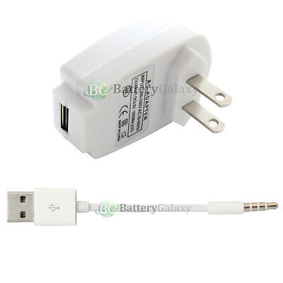 Wall Charger Plug+USB Data Sync Cable for Apple iPod Shuffle 3 4 5 3rd 4th 5th