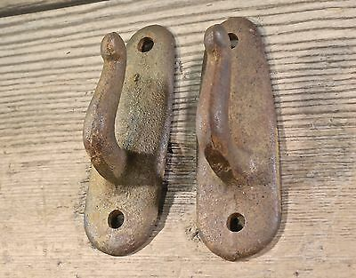 "2 single Hooks old iron rustic farmhouse vintage 3 7/8"" wash line coat hangers • CAD $28.82"