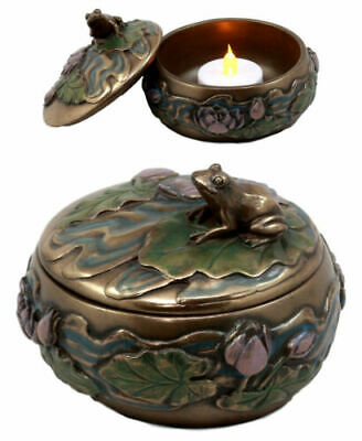 Decorative Toad Frog On Lily Petal In A Pond Round Jewelry Box Trinket Figurine
