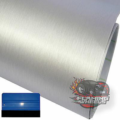 1.5m x 30cm Brushed aluminium alu SILVER wrap film decal sticker car + SQUEEGEE