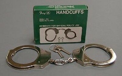 Fury Handcuffs Double lock Nickel plated steel with keys profesional grade