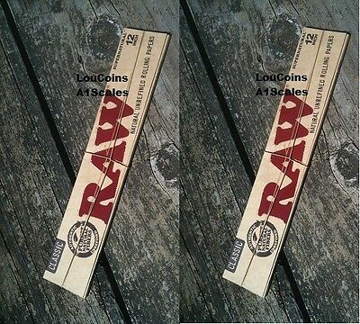 """TWO Packs! RAW CLASSIC FOOT LONG 12"""" Length UNBLEACHED Cigarette Rolling Papers"""