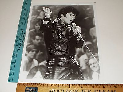 Rare Original VTG Period The King Elvis Presley in Leather, Mic Portrait Photo