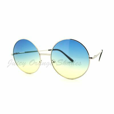 Women's Round Oversized Circle Lens Sunglasses Silver Metal
