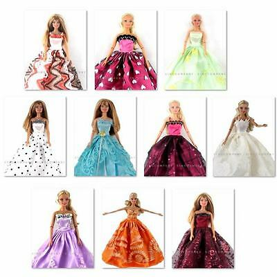 Lot 10 Pcs hot New Handmade Party Clothes Fashion Dress for Noble Doll B62