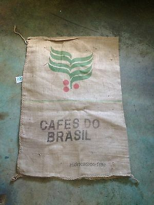 2 BURLAP/JUTE giant COFFEE bean BAGS 'cafes do brasil' crafts upholstery art...