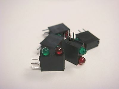 (5) DIALIGHT 553-0312 3mm RED/GREEN BI-LEVEL LED 5V RIGHT ANGLE TINTED DIFFUSED