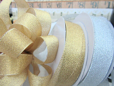 "33 yards Roll Metallic Taffeta 7/8"" Holiday Gift Ribbon/Craft R75-78-Gold/Silver"