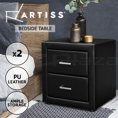 2x Bedside Table Deluxe PVC Leather Nightstand Cabinet 2 Drawers Chest BLACK