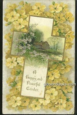 Happy and Peaceful Easter Postcard with Floral Cross and Landscape