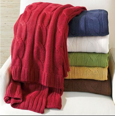 Brick Red Cable Knit Throw : Woven Lap Blanket