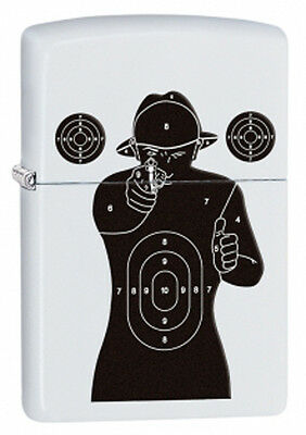 Personalised White Matte Human Target Zippo Cigarette Lighter, Engraved Free