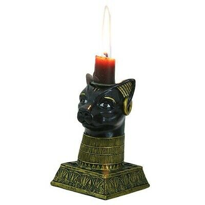 Feline Head Goddess Bastet Candle Holder Ancient Egyptian Figurine Collection