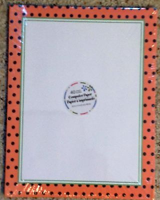 Computer Printer Paper New Package 40 Sheets Orange Polka Dot 8.5x11 Home Office