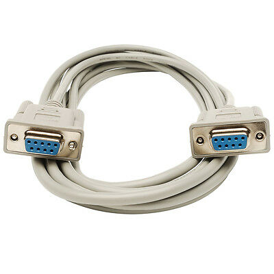 1.5m 9 Pin RS232 Serial Null Modem Extension Cable DB9 Female to Female DB9F