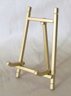 """Folding Brass Finished Easel, Plate or Book Stand, 5"""" height"""