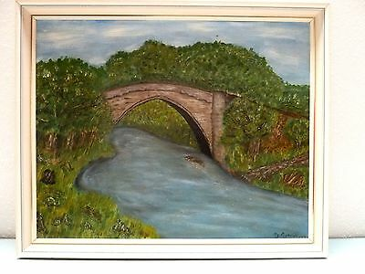 Original Oil Painting BRIG OF BALGOWNIE ABERDEEN SCOTLAND 17.75 H X 21.75