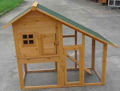 """New 57"""" Solid wood Guinea Pig Ferret Hutch Pet House Coop Cage Suite w Run"""