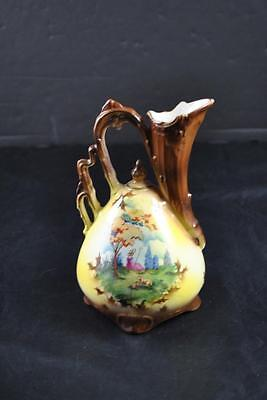 "Vintage Hand Painted Porcelain Pitcher Stamped Made In Czechoslovakia With ""A"""