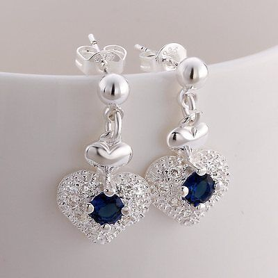 beautiful Fashion Silver 925 women Zircon Crystal Stud Earring jewelry wedding