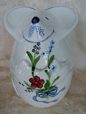 """N.S. Gustin MOUSE Holding Flowers LIDDED FLOUR CANISTER JAR Cookies VGC 10"""" H"""
