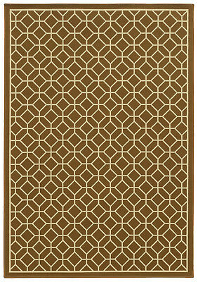 "2'x8' Sphinx Geometric Brown Diamond Outdoor 4771L Runner - Aprx 2' 3"" x 7' 6"""