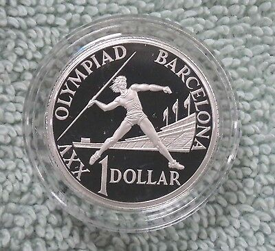 #C15.  AUSTRALIAN 1992 BARCELONA OLYMPIC SILVER PROOF $1 DOLLAR COIN - COIN FAIR