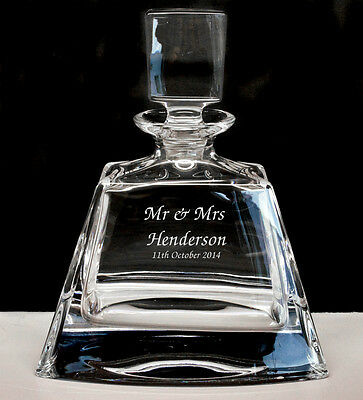 Personalised Small Size 24% Lead Crystal Whisky Glass Decanter, Engraved Gift