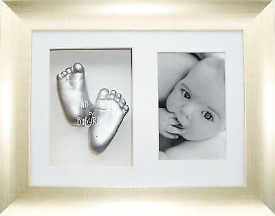 New Baby Casting Kit Antique Silver effect Photo Frame Christening Keepsake Set