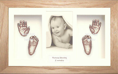 New 3D Baby Casting Kit Set Twins Siblings Vintage Silver Frame Hand Foot Casts