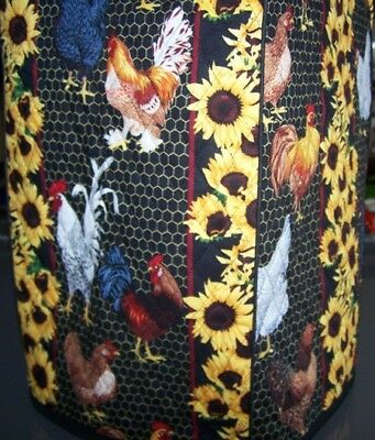 Roosters & Sunflowers Quilted Fabric Cover for Blenders NEW