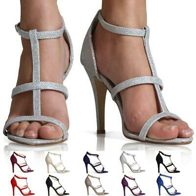 Ladies Womens High Heel Point Toe Stiletto Sandals Ankle Strap Shoes Size