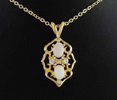 """14kt Yellow Gold Ep Genuine Double Opal 18"""" Pendant Necklace"""