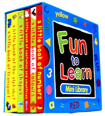 Fun To Learn Mini Library Blue Set 6 Books Alphabet Shapes Numbers Colours 1710