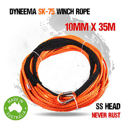 Dyneema SK75 Synthetic Winch Rope, Cable 10mm x 35m, 4WD Offroad Recovery Boat