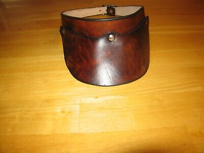 Custom Made Leather Visor Hand-Crafted Plain Dark Brown Adjustable
