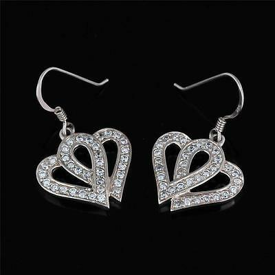 Stunning Sterling Silver Pave Heart Drop Earrings