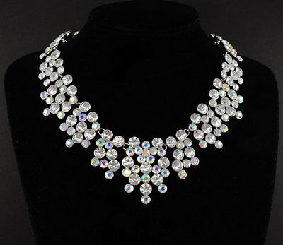 """$25 Silver Ep """"The Belle of the Ball"""" Austrian Crystal Statement Necklace"""