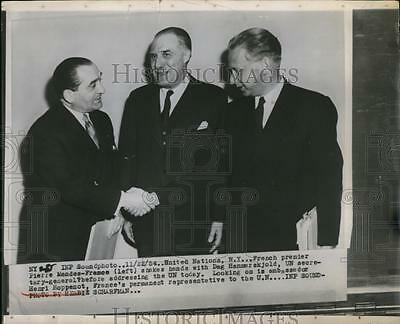 1954 Press Photo UN at NYC French Pierre Mendes France, Dag Hammerskjold