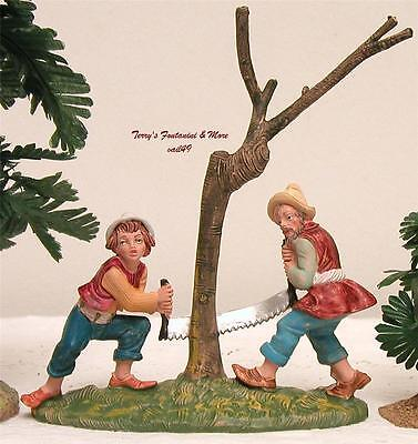 "FONTANINI DEPOSE ITALY 4""COLOR BOY & MAN SAWING TREE NATIVITY VILLAGE FIGURE NEW"