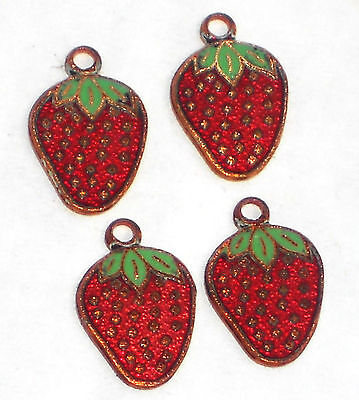 #1286B Vintage Charms Enamel Guilloche Strawberries Strawberry Berries Farm Girl
