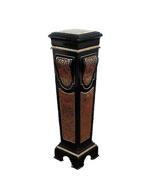 Vintage French Style Black Boulle Marbletop Plant Candle Stand