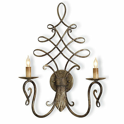 Regiment Silver Granello Scrolled Transitional Wall Sconce