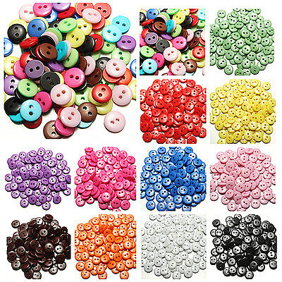 Lot de 100pcs Mixte Rond Bouton Button Couture Résine Scrapbooking 2 Trous 8mm