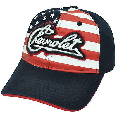 HAT - Chevrolet Embroiderd and Appliqued w/American Flag Adjustable Ball Cap