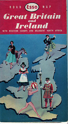1950s Esso Great Britain and Ireland Vintage Road Map