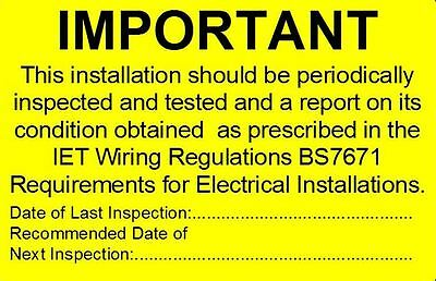 Periodic Electrical Safety Test Stickers - NO Contact details