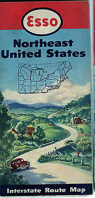 1950 Esso Northeast US Vintage Road Map / Nice Cover Graphics