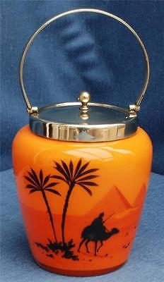Orange Painted Glass Biscuit Barrel Desert Scene EPNS Handle & Lid Hara or Lara